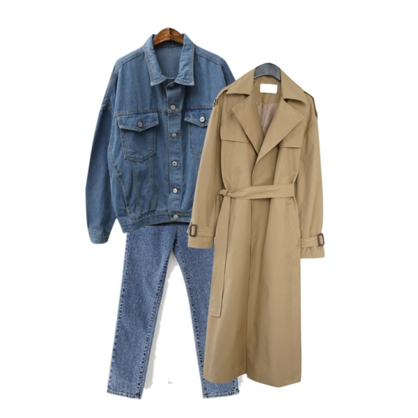 AFTERMONDAY deep slit trench coat (2colors),LOVELY SHOES 깔끔핏 데님 팬츠,Cats Onepiece 가을 청자켓등을 매치한 코디