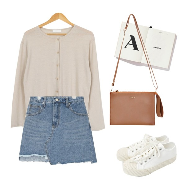 AIN unbalance cutting skirt (s, m),daily monday Simple every day sneakers,AWAB 루즈헨리가디건티등을 매치한 코디