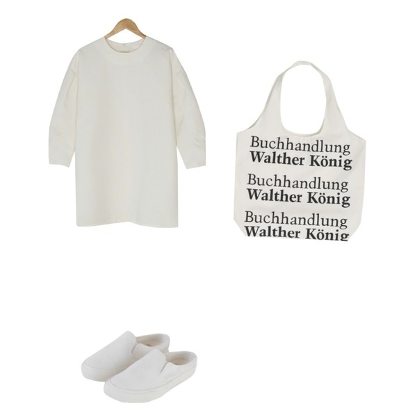 BANHARU volume loose fit mini ops,BANHARU easy casual line bloafer,From Beginning Walter lettering cotton bag_B (size : one)등을 매치한 코디