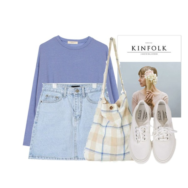 kinfolk,AIN day A-line denim skirt (s, m, l),biznshoe Tension color tee (6colors)등을 매치한 코디