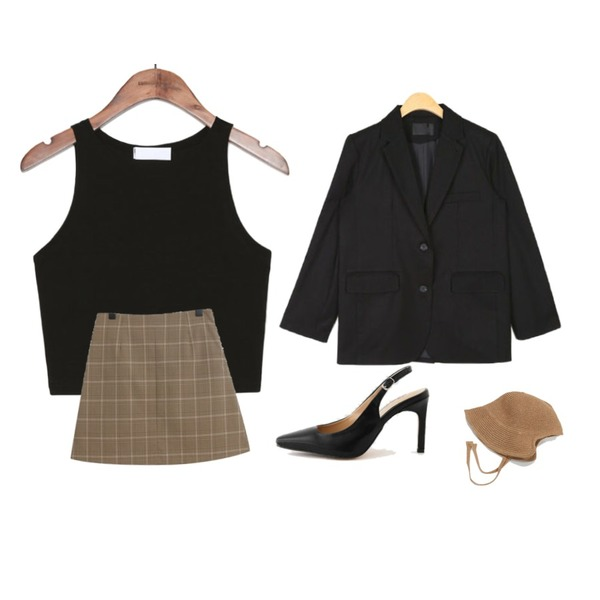 common unique [TOP] TRENDY SLIM FIT CROP SLEEVELESS,AIN emma basic standard jacket,TODAY ME 레뉴 체크 스커트등을 매치한 코디