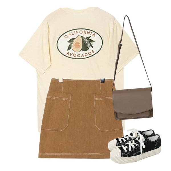 common unique [SKIRT] LINEN STITCH POCKET MINI SKIRT,AIN california avocado T,daily monday Simple every day sneakers등을 매치한 코디