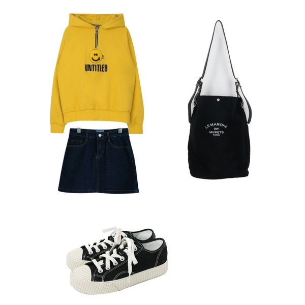 MIXXMIX Smile Anorak Hoodie,about moon 보니 데님 스커트,daily monday Simple every day sneakers등을 매치한 코디