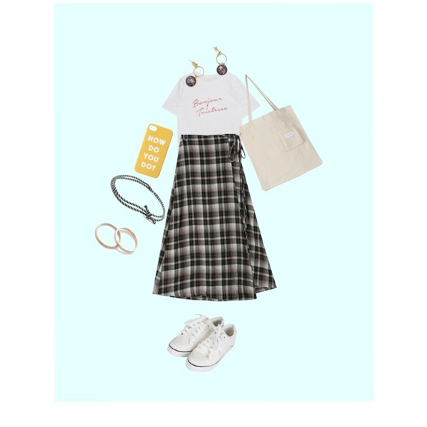 Sky Blue,daily monday Autumn check wrap skirt,MIXXMIX Bonjure Lettering Top등을 매치한 코디