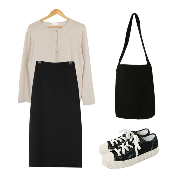 daily monday Simple every day sneakers,daily monday Clean line back band skirt,AWAB 루즈헨리가디건티등을 매치한 코디