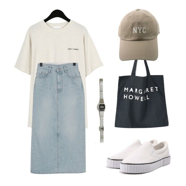 ROCOSIX line slip-on,daily monday Back charlie printing tee,From Beginning Smoothie long denim skirt_H (size : S,M)등을 매치한 코디