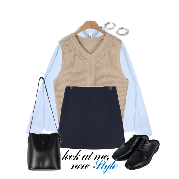 OBBANG STYLE 일라 브이넥 니트베스트,From Beginning Usually basic mini skirt_K (size : S,M),AIN bean cotton shirts등을 매치한 코디