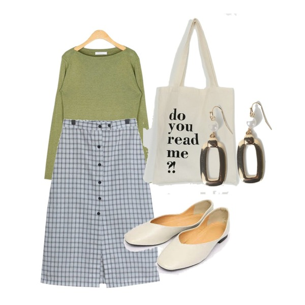 AIN wave flat shoes (225-250),AIN boat neck fall knit,TODAY ME 웰라 스커트등을 매치한 코디