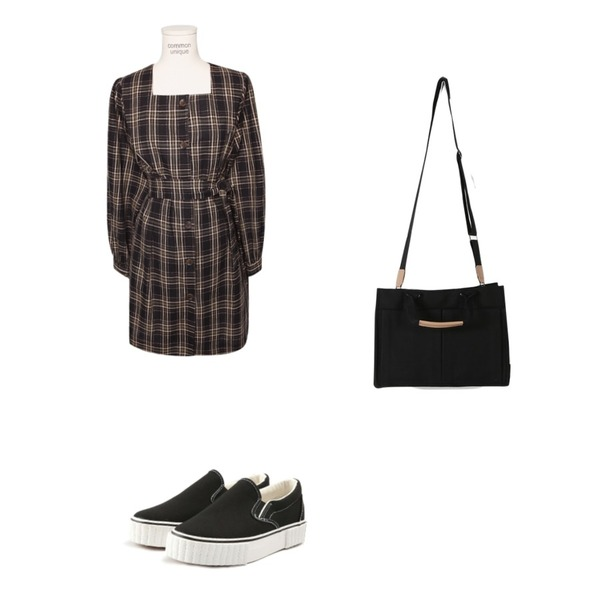 ROCOSIX line slip-on,daily monday Useful pocket cotton bag,common unique [OPS] TARTAN CHECK PINTUCK STRAP MINI OPS등을 매치한 코디