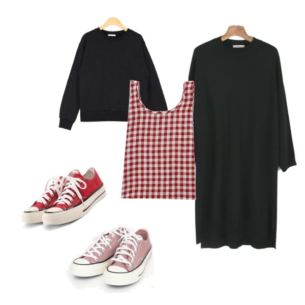 daily monday Wool round knit one-piece,AIN coloring canvas sneakers (225-250),AIN different casual mtm등을 매치한 코디