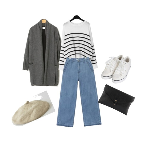 Rough & Detail 기모 숄카라 롱 가디건,AIN washing long wide denim pants (s, m),daily monday Sheer stripe loose knit등을 매치한 코디