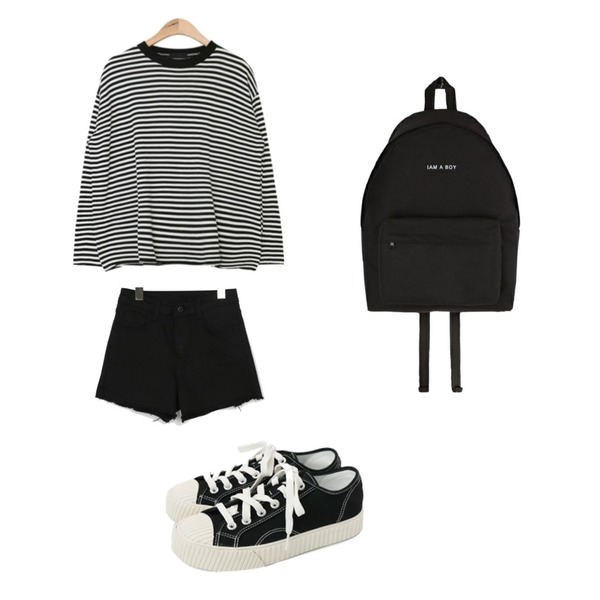 AIN neck point stripe knit (3 colors),daily monday Simple every day sneakers,ENVYLOOK [22XX]쫀득코튼쇼츠등을 매치한 코디