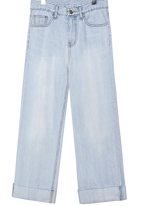 PINTUCK ROLL UP DENIM PANTS