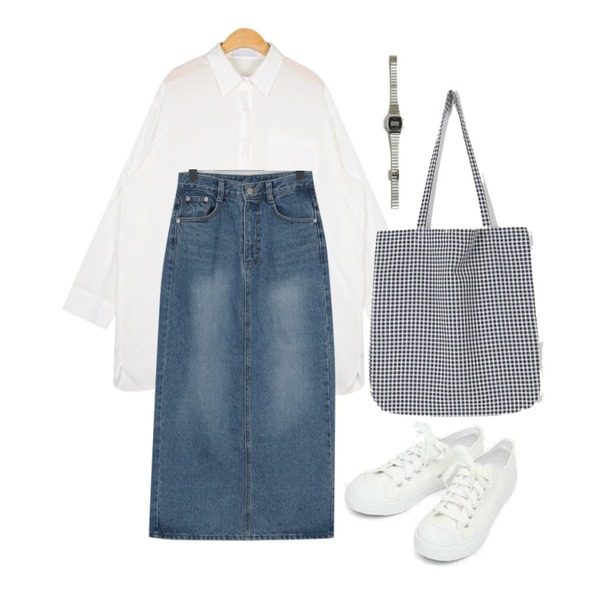 AIN basic monday sneakers (230-250),From Beginning Smoothie long denim skirt_H (size : S,M),AIN loose fit silky blouse등을 매치한 코디