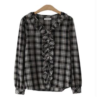 Frilly check blouse