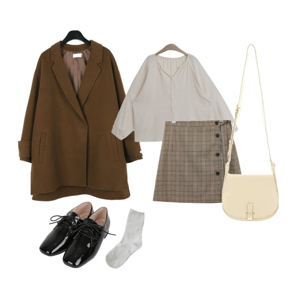 common unique [SKIRT] GLEN CHECK WRAP SKIRT,daily monday Slit point handmade half coat,TODAY ME 슬렌 블라우스등을 매치한 코디