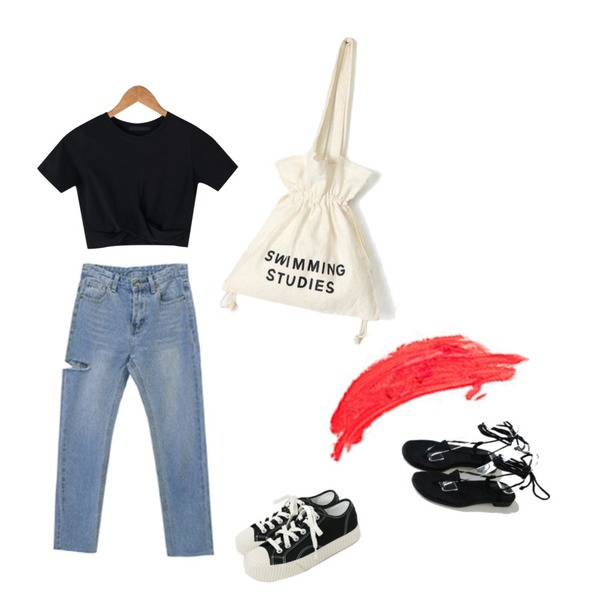 daily monday Simple every day sneakers,BANHARU twist detail crop tee,BLINGIT 슬림일자옆찢청등을 매치한 코디
