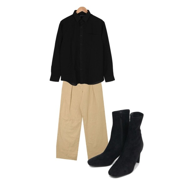 AIN three ankle heel (225-250),AIN flat linen wide pants (s, m),BULLANG GIRL 데일리베이직포켓NB♥남여공용♥등을 매치한 코디