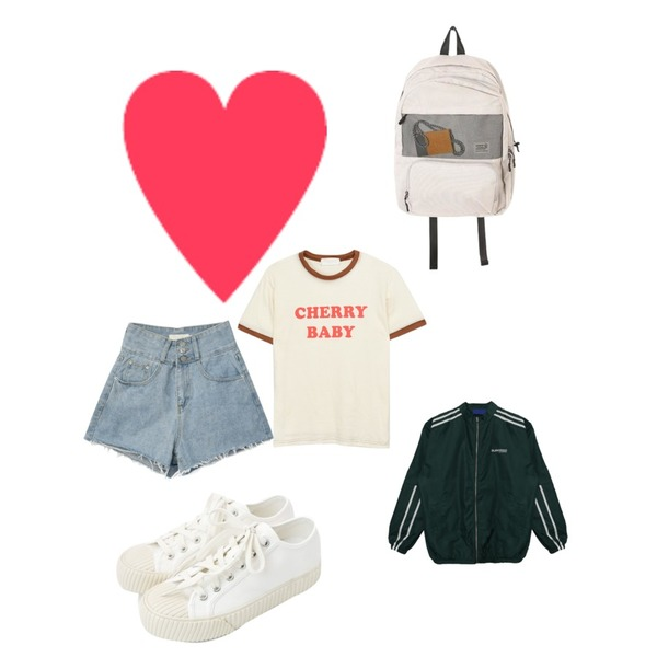 daily monday Simple every day sneakers,MIXXMIX High Waist Button Short Pants,MIXXMIX 체리 티셔츠등을 매치한 코디
