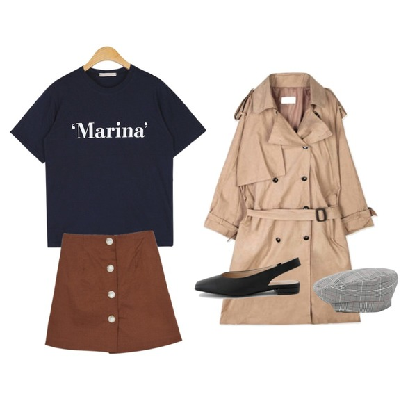 openthedoor epaulet double trench coat (2 color),MIXXMIX Peanut Button Skirt Pants,AIN marina daily T등을 매치한 코디