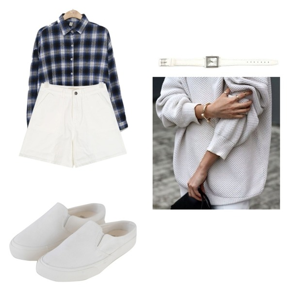 BANHARU easy casual line bloafer,AIN oracle cotton harf pants (s-xl),ENVYLOOK [22XX]쿠키체크셔츠등을 매치한 코디