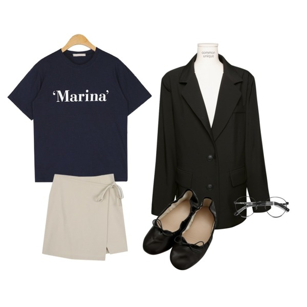 AWAB 마벨랩미니스커트,common unique [OUTER] STANDARD LOOSE TAILORED JACKET,AIN marina daily T등을 매치한 코디