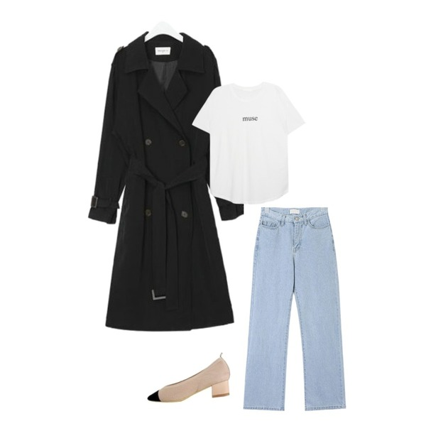 AIN FRESH A spring daily trench coat,AIN youse semi boots denim pants (s, m),MIXXMIX Muse Loose Top등을 매치한 코디