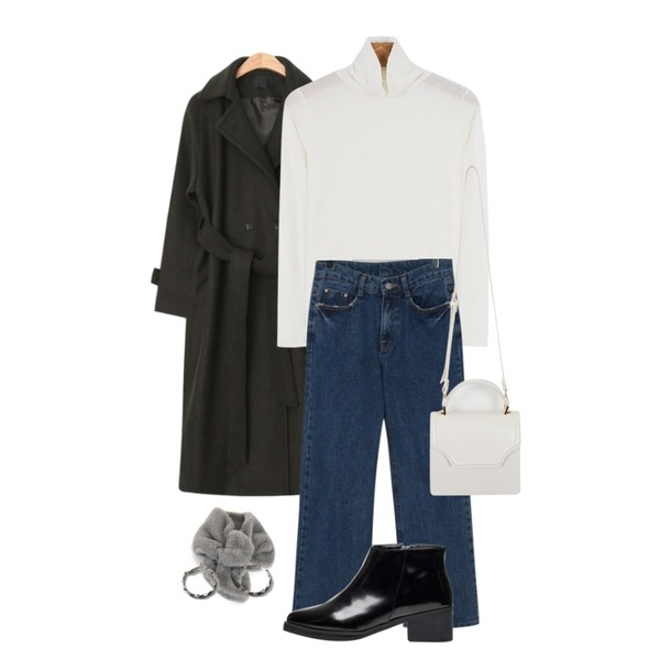 daily monday Light tencel pola tee,AIN maxi long strap double coat (2 colors),From Beginning Straight semi wide denim_M (size : S,M,L)등을 매치한 코디