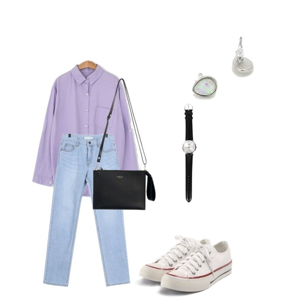 daily monday Cool lignt denim pants,LOVELY SHOES 크레용 남방,common unique [BAG] 2 WAY SQUARE LEATHER CLUTCH BAG등을 매치한 코디