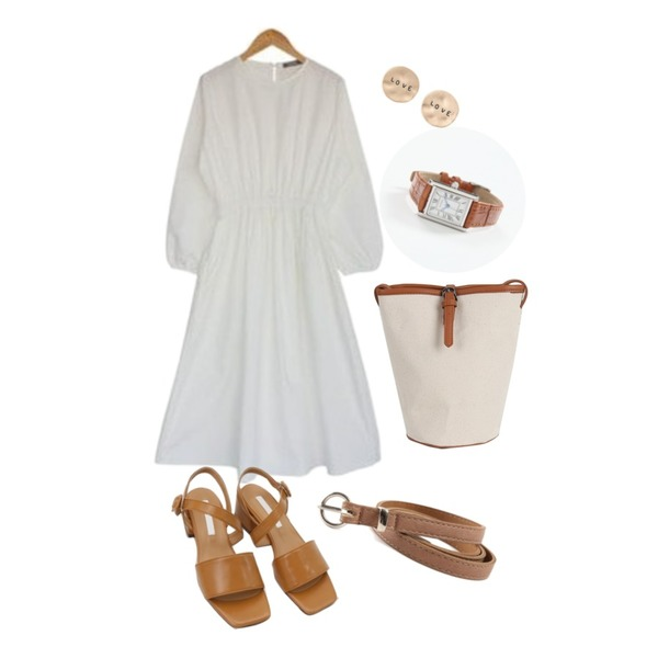 about moon 봄 날 밴드 원피스,daily monday Diagonal line middle sandals,somedayif belt cover bucket bag (3colors)등을 매치한 코디