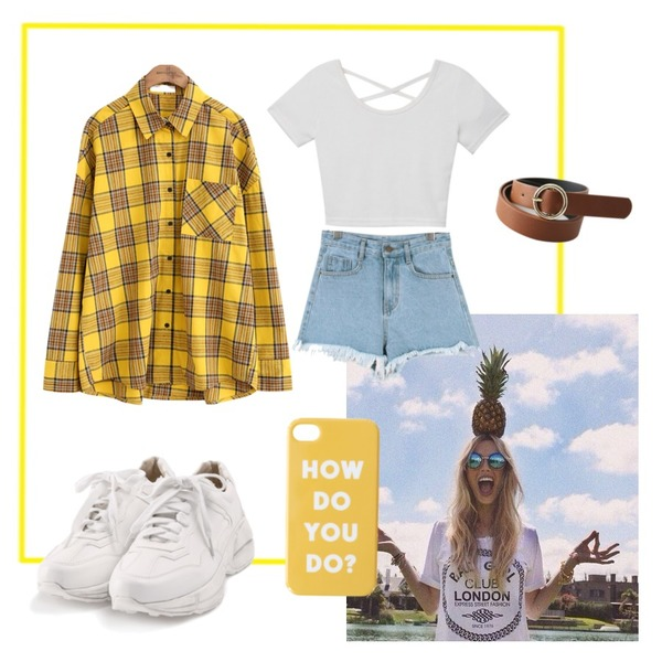 Yellow Frame,pineaplle,common unique [TOP] BINCH CHECK SHIRTSWITH CELEBRITY _  내 아이디는 강남미인 임수향 착용등을 매치한 코디
