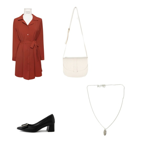 AIN royse half moon bag,common unique [OPS] F/W MODE COLLAR STRAP MINI OPS,LOVELY SHOES [자체제작] 리븐 미들힐 펌프스 5.5cm등을 매치한 코디