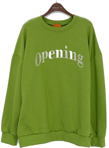 Lettering Opening Man-to-man T-shirt