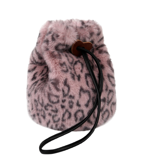 fur leopard bucket bag (3 color)