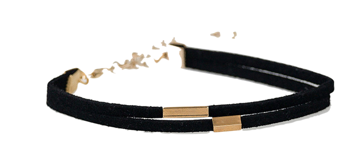 gold bar detail suede bracelet