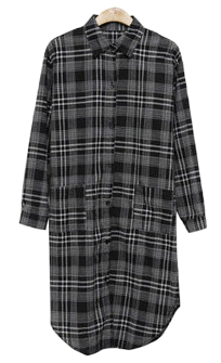 Two-way check shirt