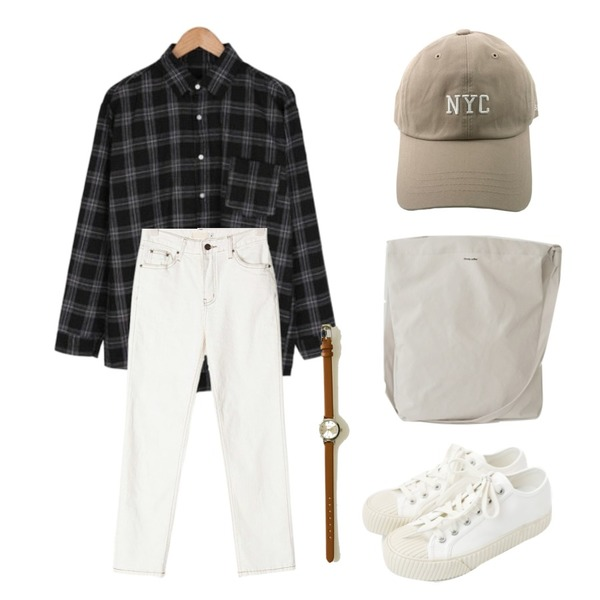 daily monday Simple every day sneakers,BULLANG GIRL 페이크체크NB(당일출고),AIN benefit cotton straight pants (s, m)등을 매치한 코디
