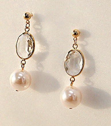 CLEAR CRYSTAL PEARL EARRING