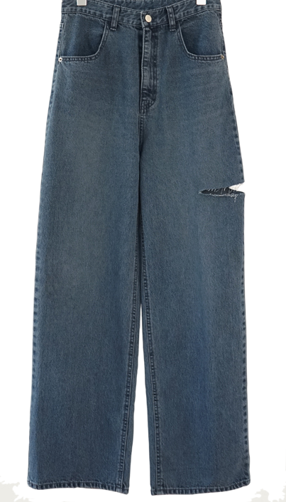 side cut-off denim pants (foggy blue)