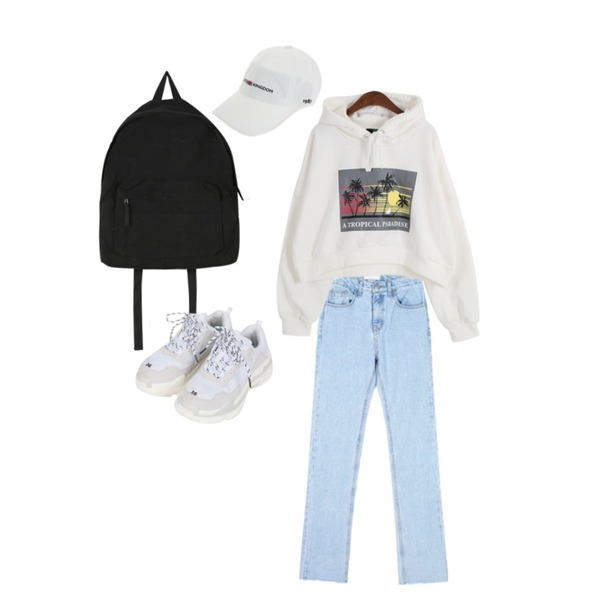 daily monday Campus cozy backpack,AIN lightcolor roll up pants (s, m),Dailyco 파라다이스크롭후드-hd등을 매치한 코디