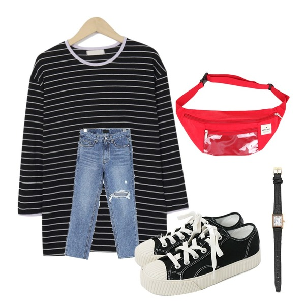 daily monday Simple every day sneakers,From Beginning Match color stripe knit_K (size : free),ROCOSIX 이루 데미지 데님 팬츠등을 매치한 코디