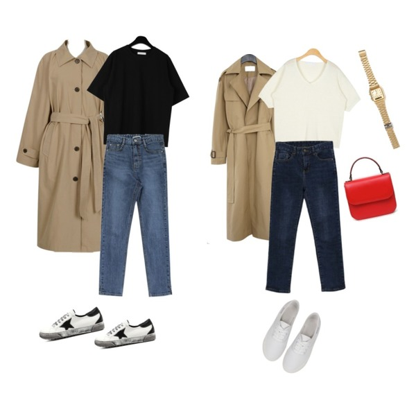 From Beginning Made_outer-113_raglan single trench_B (size : free),AFTERMONDAY deep slit trench coat (2colors),daily monday Sturdy simple half tee등을 매치한 코디