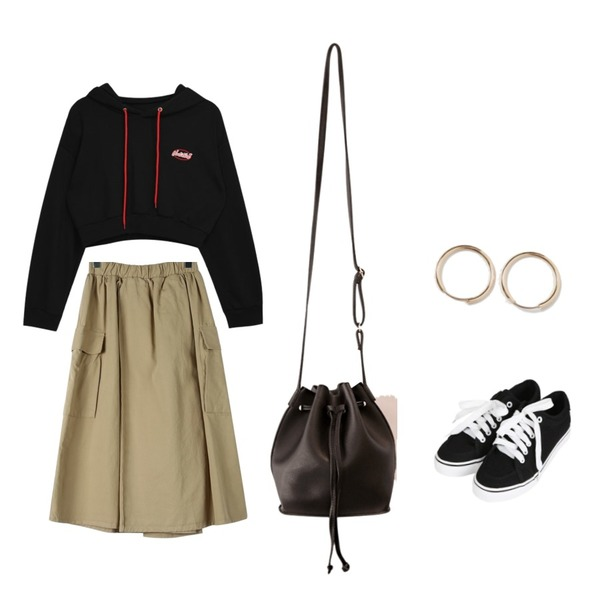 common unique [BAG] DAILY LEATHER MINI BUCKET BAG,MIXXMIX String Logo Crop Hoodie,daily monday Cute pocket banding skirt등을 매치한 코디