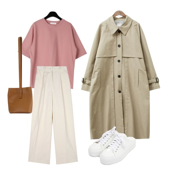 common unique [OUTER] COTTON LONG TRENCH COAT,AIN easily string banding pants,daily monday Sturdy simple half tee등을 매치한 코디