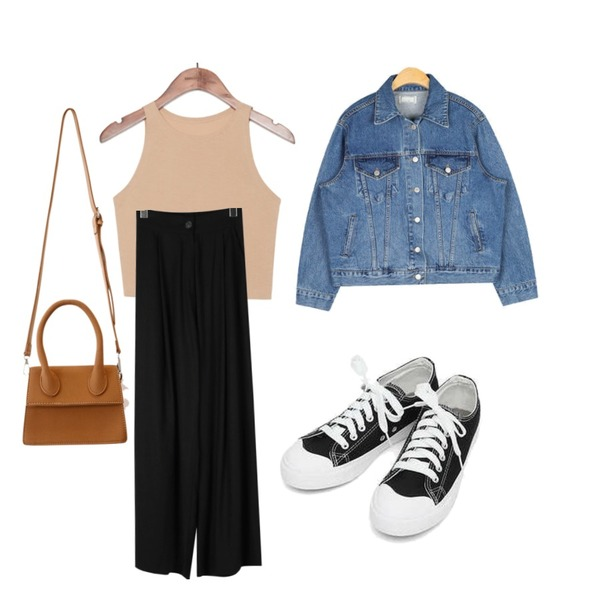 daily monday Relaxed linen banding wide pants,common unique [TOP] TRENDY SLIM FIT CROP SLEEVELESS,AIN retro denim jacket등을 매치한 코디