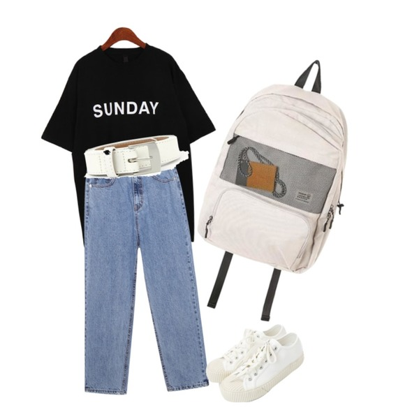 daily monday Simple every day sneakers,Dailyco 데이데이박시반팔-t,common unique [BOTTOM] SUPER HIGH BAGGY DENIM PANTS등을 매치한 코디
