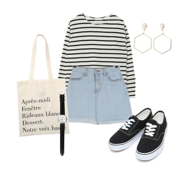 AIN daily casual sneakers (230-250),MIXXMIX Daily Striped Top,BULLANG GIRL 언발시크릿데님SK등을 매치한 코디