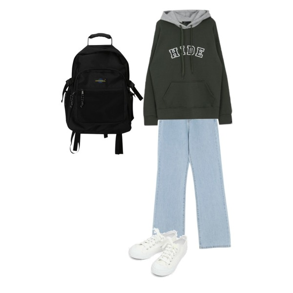 MIXXMIX Logo Two Color Hoodie,AIN basic monday sneakers (230-250),UPTOWN HOLIC 하이롱 pants (*2color)등을 매치한 코디