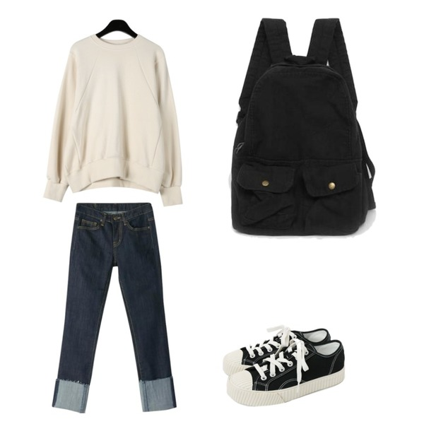 BANHARU cutting roll-up straight jean,daily monday Simple every day sneakers,daily monday Line point cotton mtm등을 매치한 코디