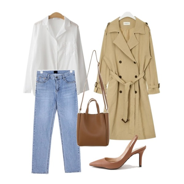 AIN FRESH A spring daily trench coat,ENVYLOOK 깔루아셔츠,AIN young straight denim pants (s, m, l)등을 매치한 코디